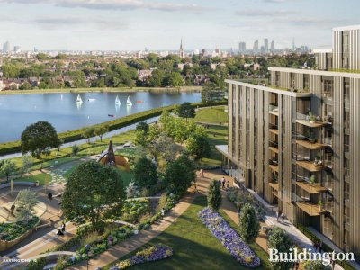 CGI of the Hartingtons at Woodberry Down facing the sailing lake; screen capture from the brochure at woodberry-down.co.uk