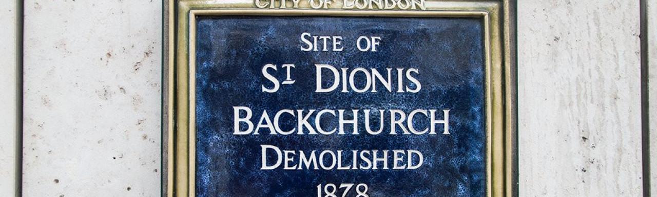 Site of St Dionis Backchurch demolished 1878.