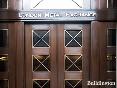 London Metal Exchange sign above one of the entrances at 56 Leadenhall Street in 2014.