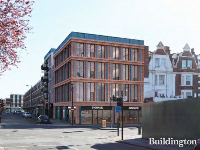 Visualisation of the planned building by Stiff+Trevillion for 382-386 Edgware Road in the Design and Access statement in the planning documents at westminster.gov.uk; screen capture.