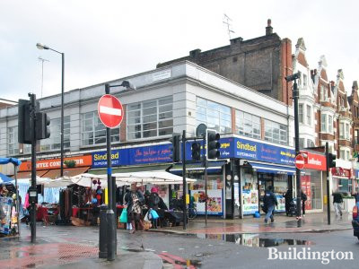 Ladbrokes, Sindbad Superstore and Coffee Connoisseur at 382-386 Edgware Road in 2013.
