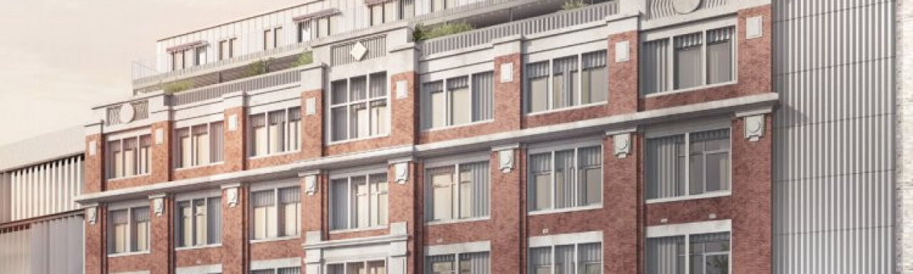 CGI of Arklow Road development by Pocket Living in the brochure; screen capture.