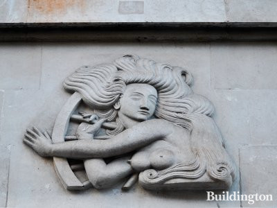 Bas-relief above the entrance to 77 Hallam Street