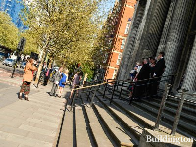 After the wedding ceremony at the steps of the Old Marylebone Town Hall