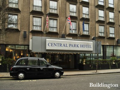 Entrance to Central Park Hotel on Queensborough Terrace in Bayswater, London W2.