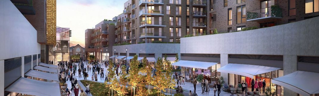 Vision of the new public square at the Hounslow High Street Quarter development; screen capture from barratthomes.co.uk.