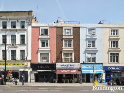 Andalo's Cafe at 218 Edgware Road building (middle) in London W2.