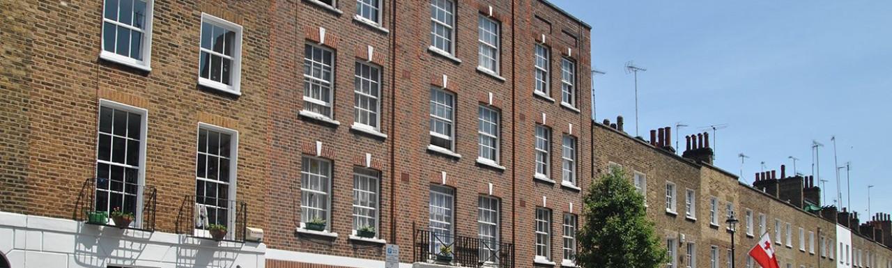 Barham House building on Molyneux Street in Marylebone, London W1.