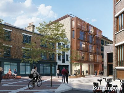 CGI or 4-6 4-6 New Inn Broadway designed by Gallus Studio; screen capture from the Design and Access Statement at hackney.gov.uk.