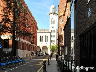 View to Cadogan Hall from Sedding Street; Sedding Studios (1969) on the right.