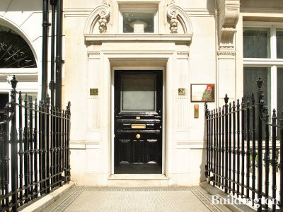 Entrance to 24 Portland Place in London W1.