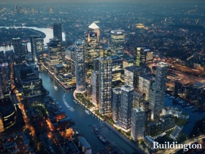 CGI of Wood Wharf development