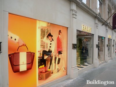 Bally store windows at 45-46 New Bond Street in 2016.