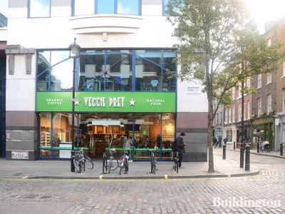 Veggie Pret in the ground floor commercial premises at 31 Broadwick Street in Soho, London W1.