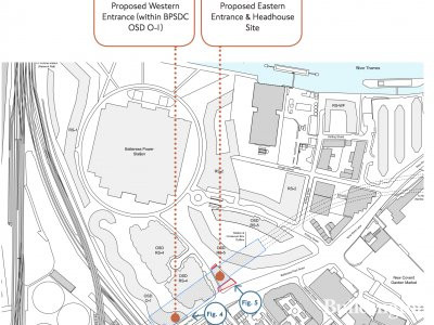 Site map of the Battersea Underground Station showing the Eastern and Western entrance points on Battersea Park Road.