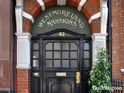 Entrance to Westmoreland Mansions building on New Cavendish Street in Marylebone, London W1.