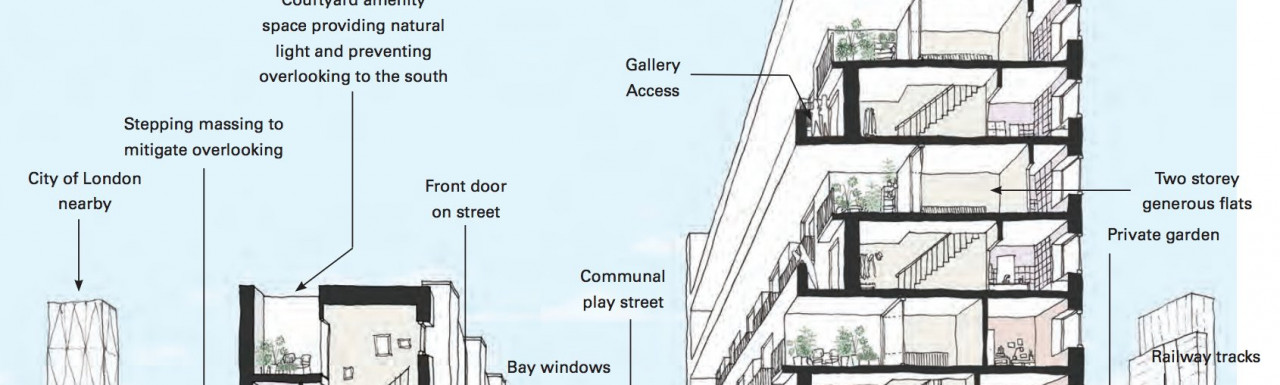 1-3 Tent Street initial plans by Henley Halebrown in the Design and Access Statement from 2017; screen capture from towerhamlets.gov.uk.