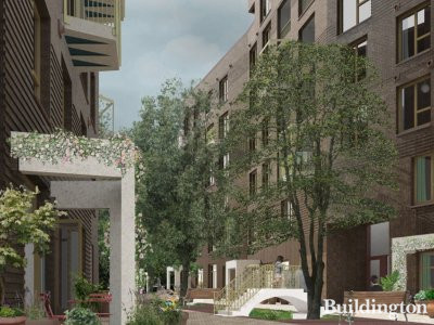 CGI of Tower Court Estate development designed by Adam Khan Architects, adjacent to Clapton Common in London E5.