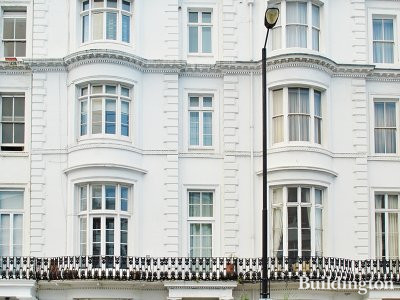 Front elevation of 141 Gloucester Terrace building in Bayswater, London W2.