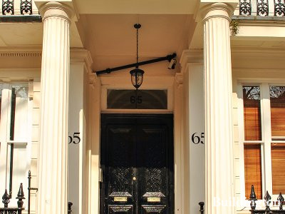 Entrance to 65 Westbourne Terrace building in Bayswater, London W2.