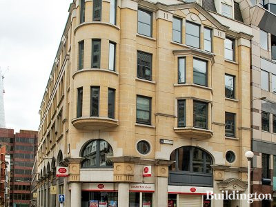 The 10-12 Eastcheap building is situated on the corner of Eastcheap and Botolph Lane.