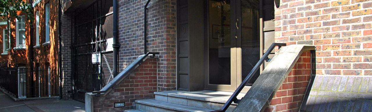 Entrance to Rowan House on Greycoat Street.