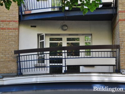 Balcony at Greycoat House building in London SW1.