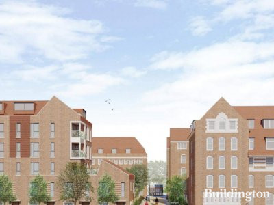 CGI of the new development on Wedmore Estate designed by Burrell Foley Fischer architects.