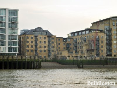 View to Tempus Wharf from the River Thames.