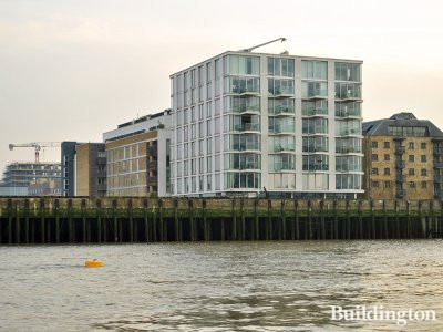 View to Luna House apartment building in Bermondsey from the River Thames.