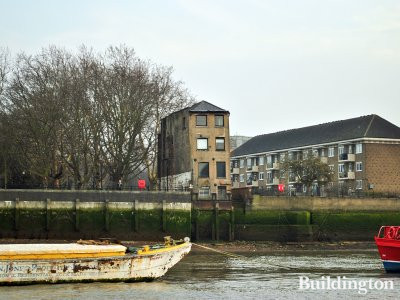 View to 101 Bermondsey Wall East building from the River Thames.