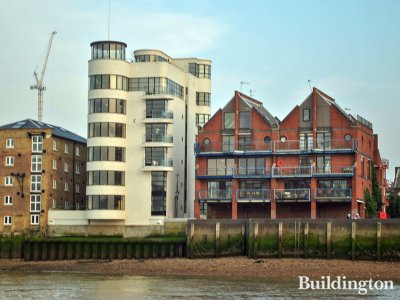 View to 16 Elephant Lane building from the River Thames.