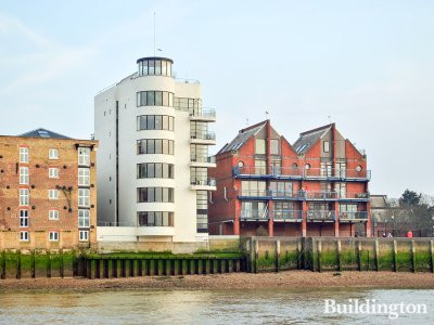 View to Prince's Tower building on the banks of the River Thames in London SE16.