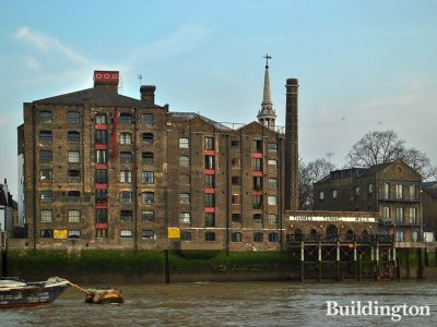 View to Thames Tunnel Mills buildings from the River Thames.