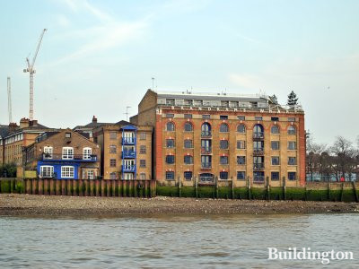 View to Brandram's Wharf from the River Thames.