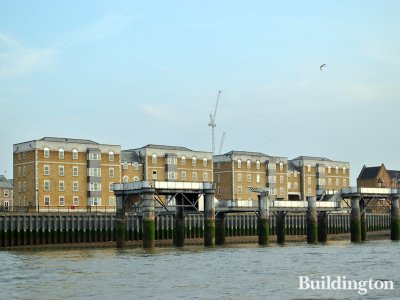 From the left - Mountbatten Court, Columbus Court, Cook Court and Horatio Court on the banks of the River Thames.