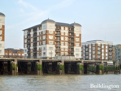 View to Woolcombes Court apartment building from the River Thames.
