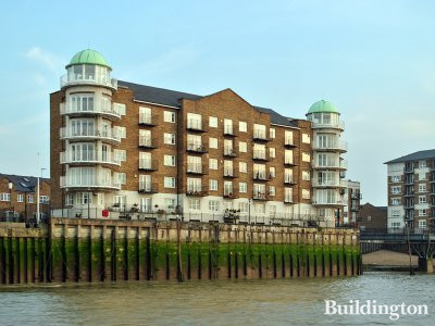 View to Bellamy's Court apartment building from the River Thames.