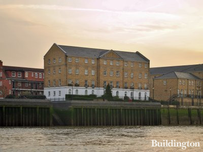 View to Prince Regent Court apartments from the River Thames.