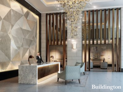 CGI of the reception at Belvedere Gardens, Southbank Place.