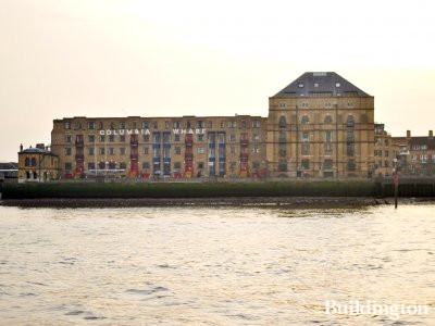 View to Columbia Wharf building from the River Thames.
