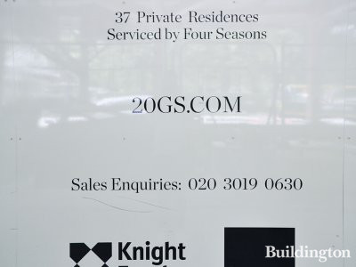 Twenty Grosvenor Square hoarding in May 2018.