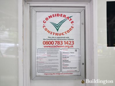 Considerate Constructors' banner at Twenty Grosvenor Square.