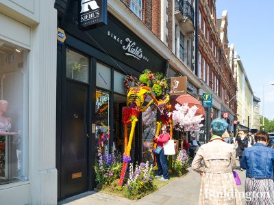 Kiehl's at No. 54 of 54-68 King's Road building. Installation at the entrance during celebrate Chelsea Flower Show 2018.