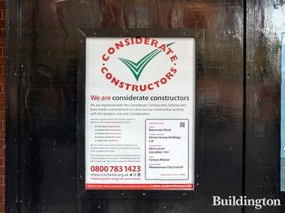 Considerate Constructors' banner at 117-125 Bayswater Road.