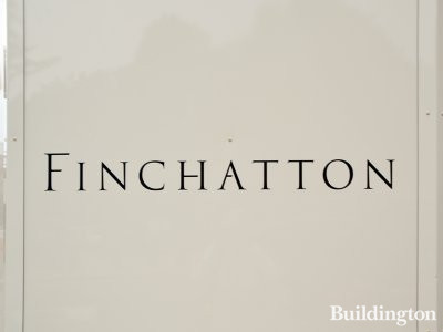 Finchatton's logo on the development hoarding at Twenty Grosvenor Square.