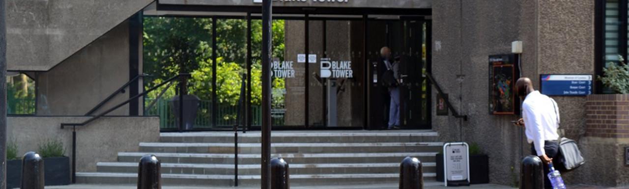 Entrance to Blake Tower on Aldersgate Street.