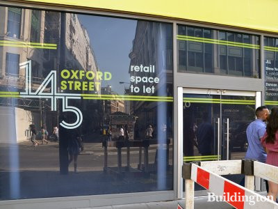Retail space to let at 145 Oxford Street advertised by JLL in May 2018.