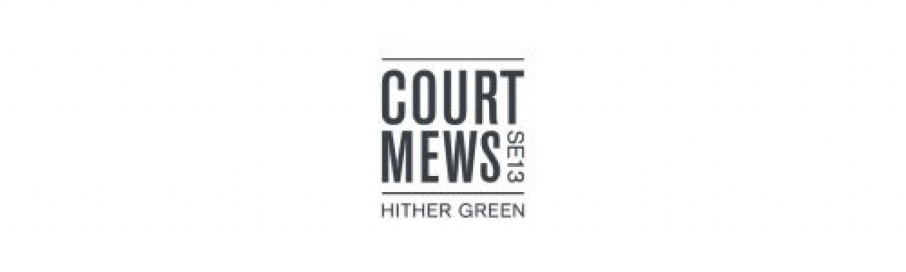 Logo of the Court Mews development in Hither Green, London SE13.