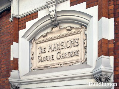 One Sloane Gardens development. Relief lettering on the building before the redevelopment in 2013 - The Mansions at Sloane Gardens relief